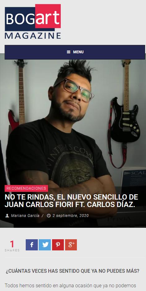 BOGART MAGAZINE NO TE RINDAS, EL NUEVO SENCILLO DE JUAN CARLOS FIORI FT. CARLOS DÍAZ